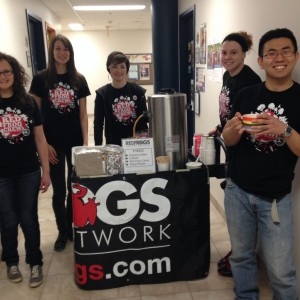 Tammy Junghans (centre) and members of the Segue student group gear up for a campus outreach at the University of Manitoba.