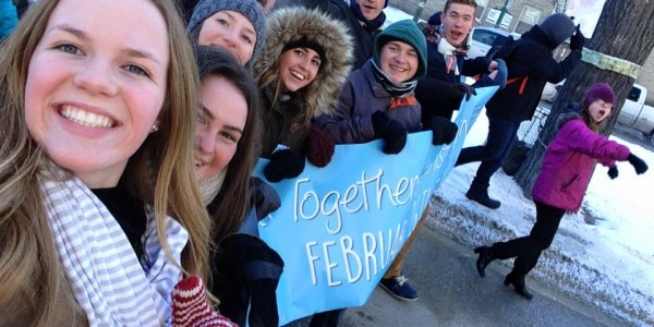 Students rally in Winnipeg at the Students Together Against Racism Today (START) event February 26. Photo by Deborah Tsao.